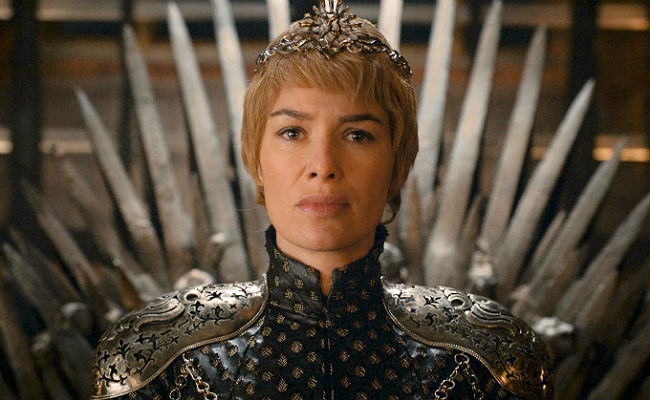 Image result for cersei lannister sitting on the iron throne