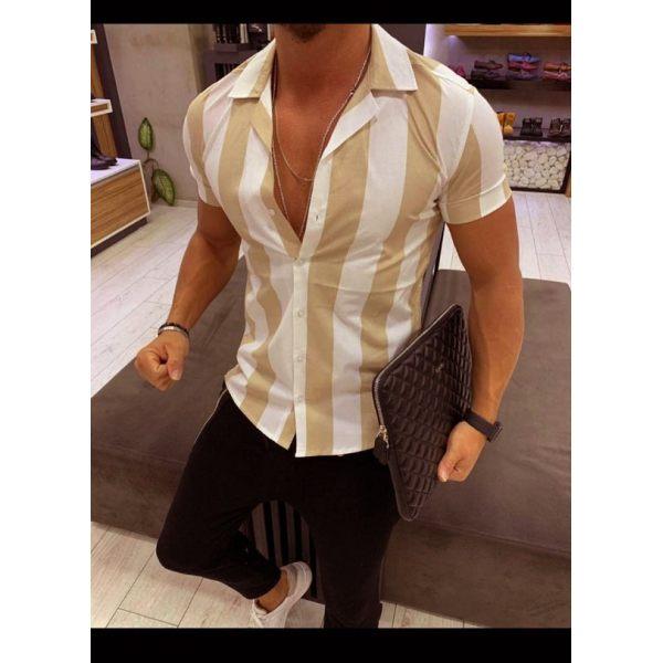 Men's Mercerized Cotton Striped Slim Short-Sleeve Shirt - menilyshop.com