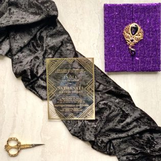 Sequins Gatefold Invitation Ornate Brooch Acrylic Invitation Prince Inspired