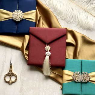 Mini Silk Folio Invitation Brooch Tassel Assortment