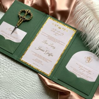 Green Suede Invitation Folio Gold Foil