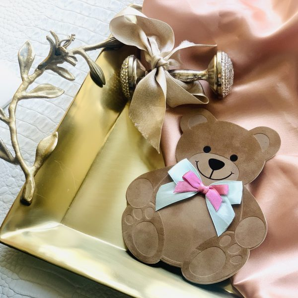 Suede Teddy Bear Invitation 2