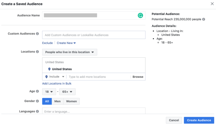 Facebook ad manager account