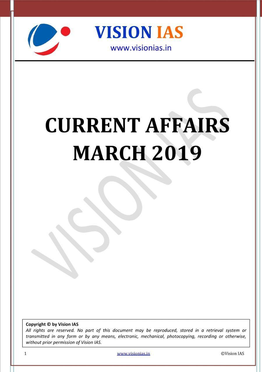 Vision IAS Current Affairs March 2019 PDF | UPSC PDF