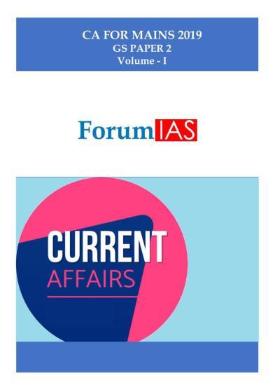 ForumIAS Current Affairs Handouts Mains 2019 Part 1