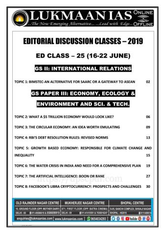 Lukmaan IAS Editorial Discussion Classes 2019 Class 25 PDFLukmaan IAS Editorial Discussion Classes 2019 Class 25 PDF