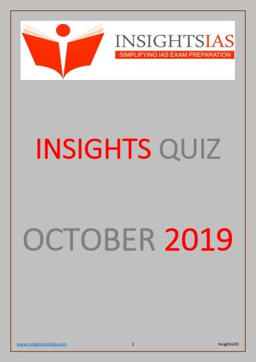Insights IAS Quiz October 2019 PDF