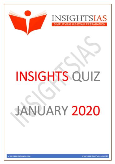 Insights IAS Quiz January 2020 PDF