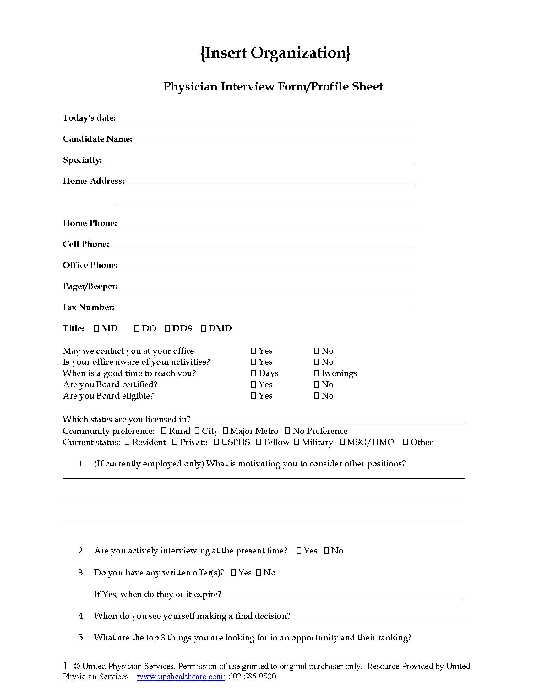 Physician Interview Profile Form