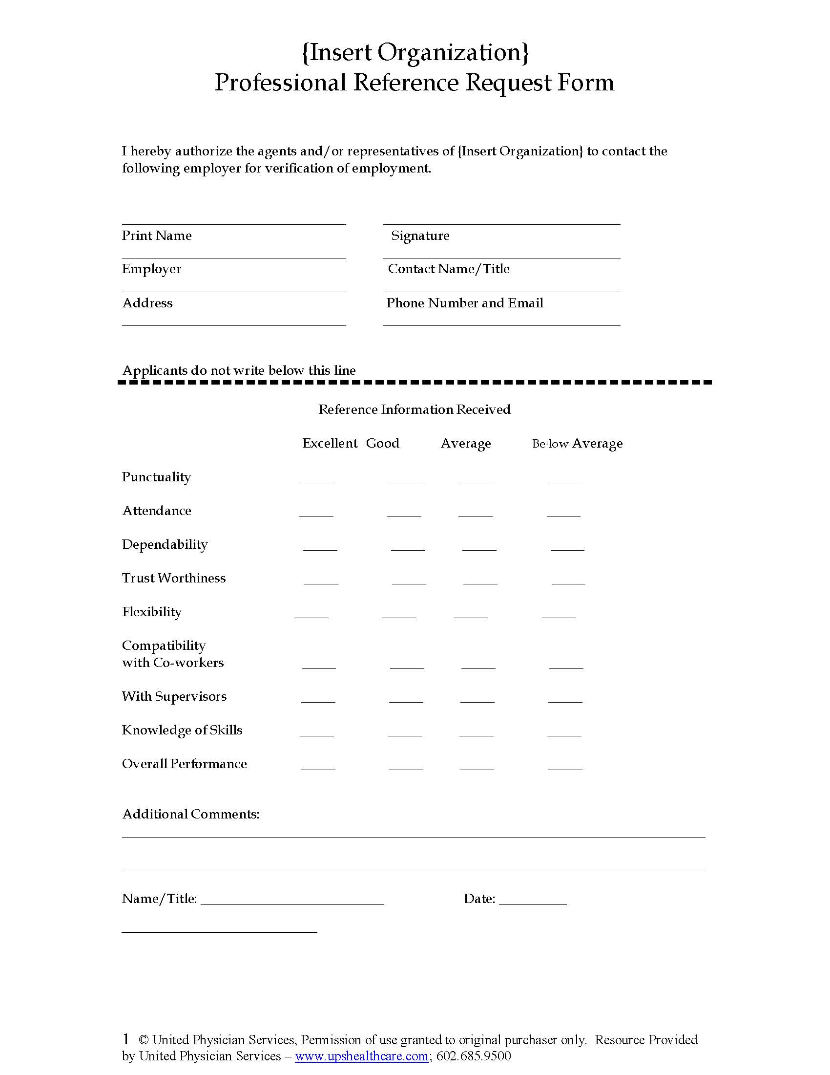 Professional Reference Request Form