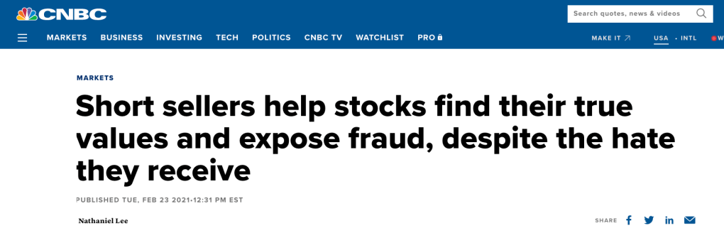 CNBC headline defending shortselling as an efficient price discovery tool
