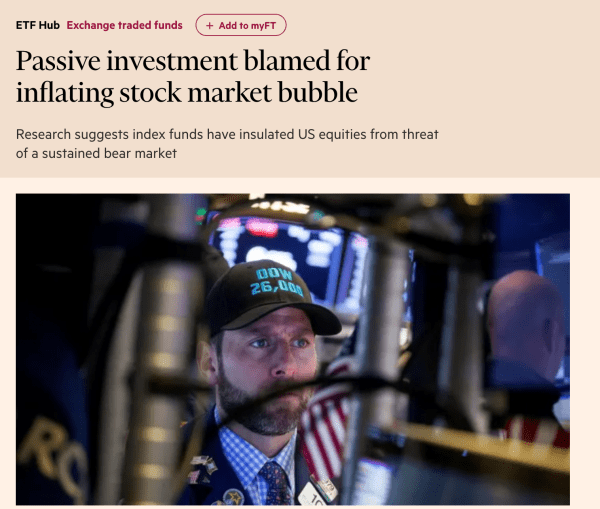 Financial times article about passive investment from 9-26