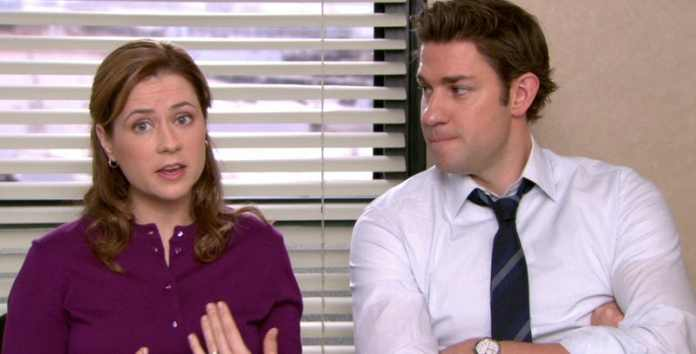 Jim and Pam in a talking head segment. Image via  ScreenRant