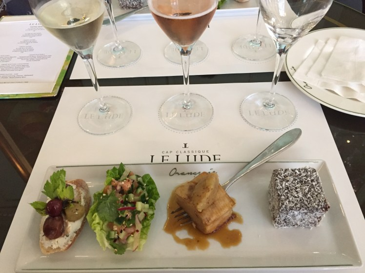 wine tram experience south africa: Le Lude Sparkling Wines tasting with canapes