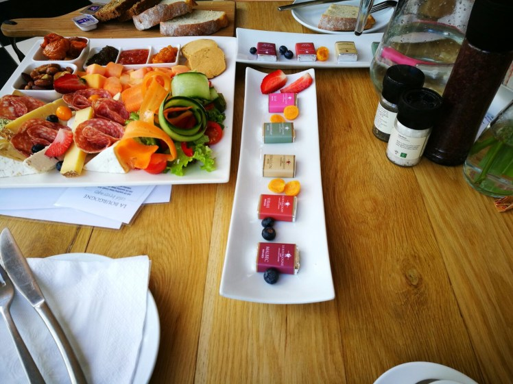 Wine tram experience south africa: sharing platter at La Bourgogne