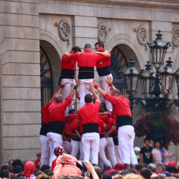 castellers competing in Placa Jaume for Barcelona's Festa de Merce