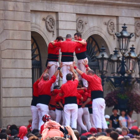 castellers competing in Placa Jaume for Barcelona's Festa de Merce