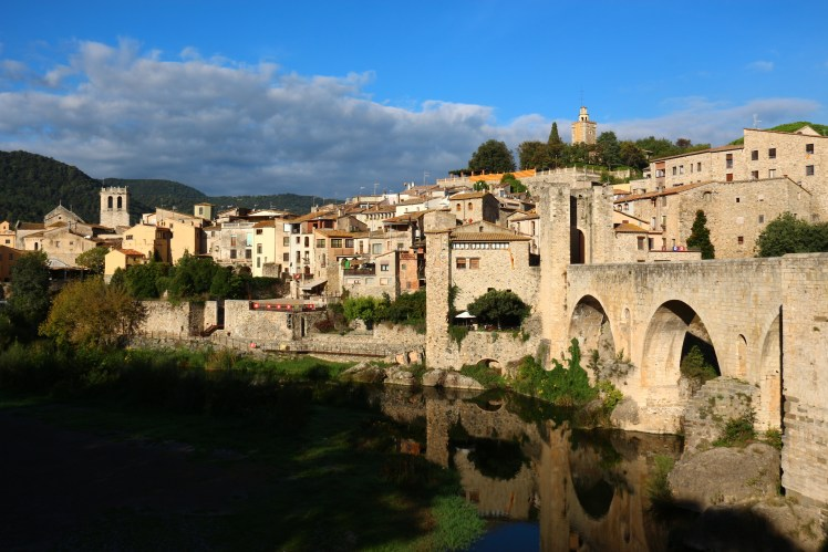 Besalu's Viejo Bridge reflected in the river