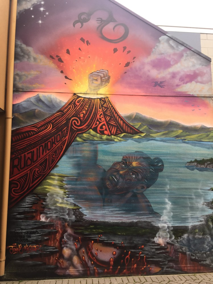 graffiato street art, Taupo, the mighty Ruaumoko through a volcano