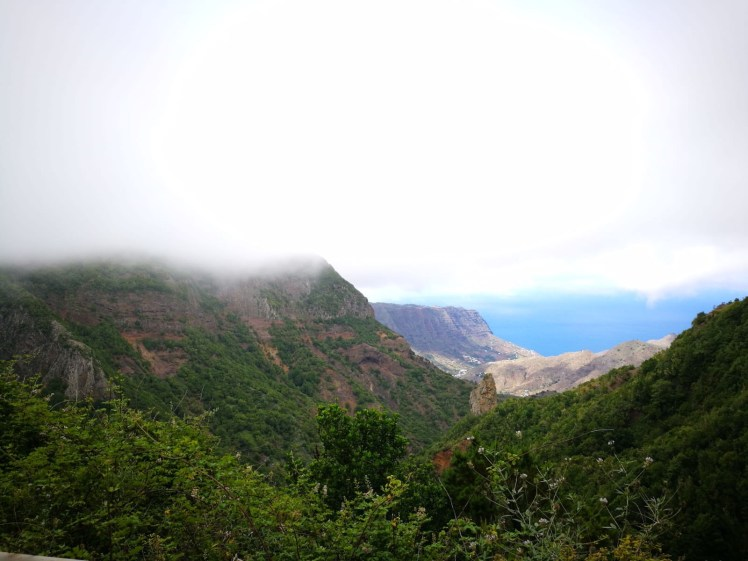 La Gomera clouds covering forest and ravine