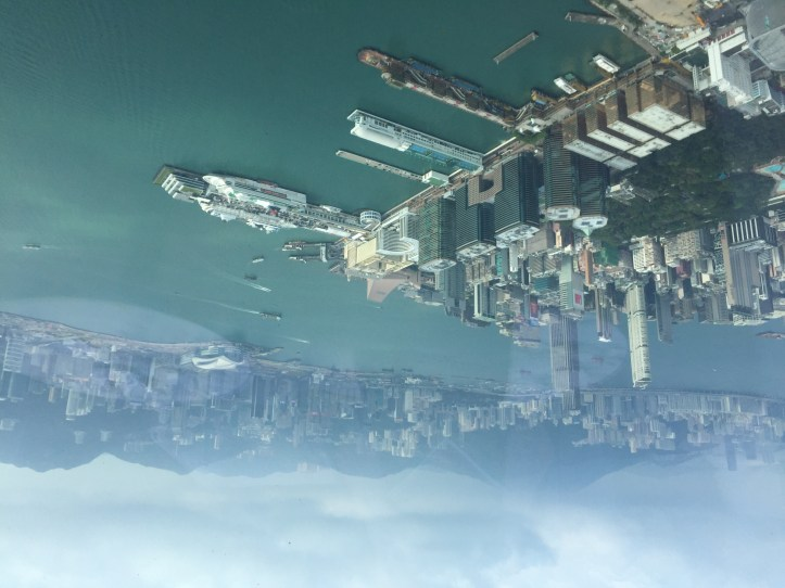 View over Hong Kong harbor, from Ozone, on the 118th floor at Ritz Carlton