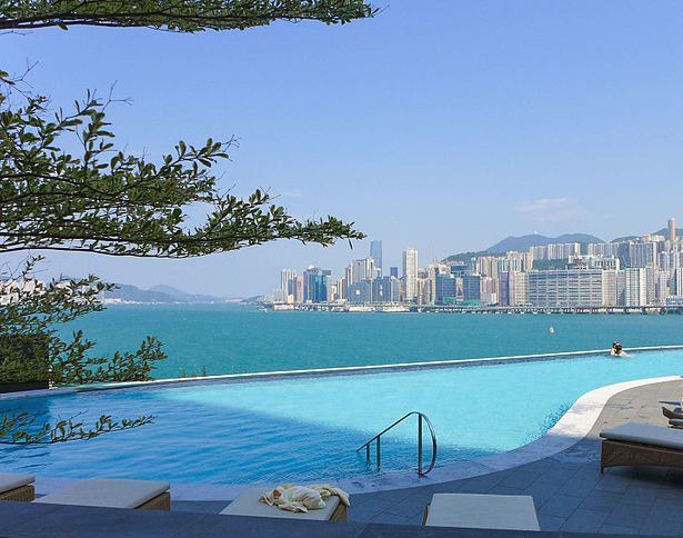 Kerry Hotel Hong Kong infinity Swimming Pool on a sunny day