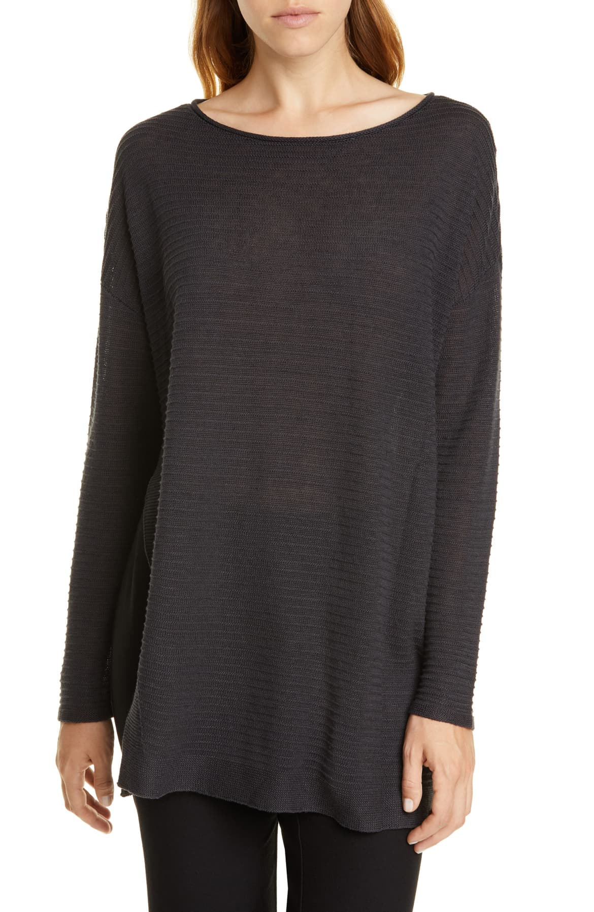 Bateau Neck Organic Linen & Cotton Tunic Sweater