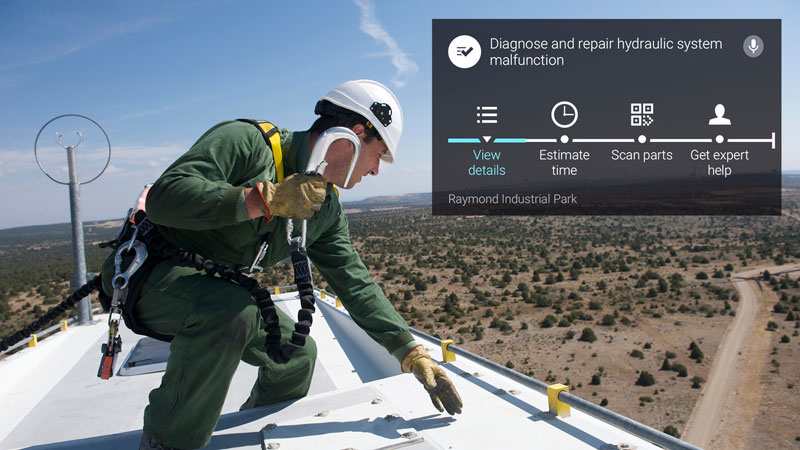 Wind Turbine Field Technician using Skylight augmented reality solution