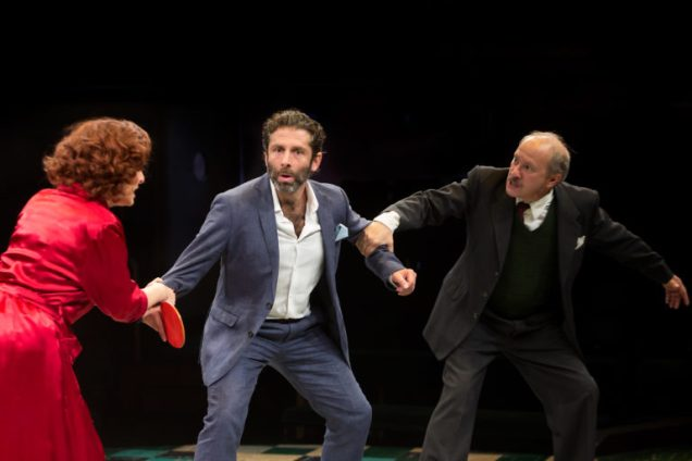 Elliot Levey, Tracy-Ann Oberman and Jonathan Tafler in The Mighty Walzer at Manchester's Royal Exchange © Jonathan Keenan