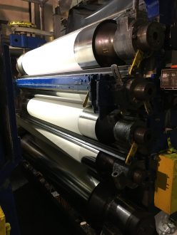 These steel rollers are calendars and are used to create a smooth surface. Depending on sheet, the paper will move through none, some, or all of the rollers - thus creating the different surface types (CP, HP, R).