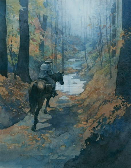 """Post Rider 15""""x 12"""" watercolor, gouache, and digital on paper Linking the young nation through mail communication. A part of the story of Natchez Trace Parkway."""