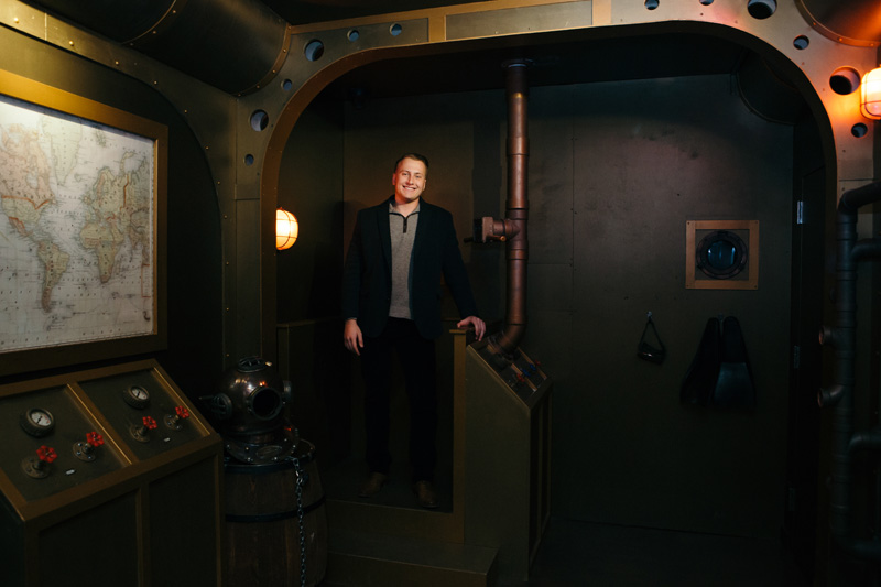 The Submarine Room in Cherry's Annapolis location -- a nod to its seafaring locale --was built entirely in-house. Full of electronics and immersive clues, it maintains an escape difficulty rating of 5/10.