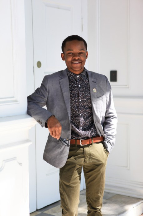 DaJuan Gay poses outside the Maryland State House during a campaign photo shoot in July. Photo by Sophie Macaluso