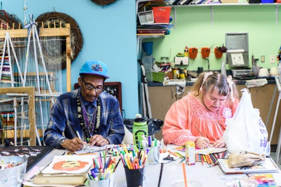 Alphonso Lee Williams, Sr. & Lois Agee work on their art pieces during an open studio at the Open Eye Gallery at Arundel Lodge. The Open Eye Gallery and art program at Arundel Lodge in Edgewater provides a creative space for adults impacted by mental health and substance use disorders. Many of their works are shown around the area at various galleries and museums and sold to the community to pay the artists and cover supply expenses. Photos by Alison Harbaugh. Sugar Farm Productions