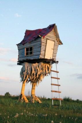 """Baba Yaga Hut"" (2015) 10'l x 6'w x 20'h Mixed reclaimed materials Southern Louisiana."