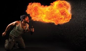 Breathing fire; photo by Rich Wysockey.