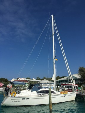 Iolanthe, Barry and Marcia's sailboat, a Wauquiez Pilot Saloon 41, safely docked in Spanish Cay while checking in with Bahamian Customs. Photo courtesy of Marcia Talley