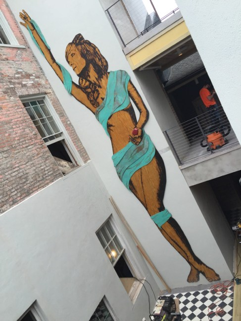 """""""Trixie"""" 8'x32' burnt wood and tarnished copper, commissioned by The Catahoula Hotel in New Orleans, LA."""