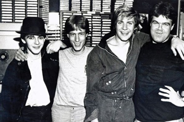 Duran Duran comes to WLIR studios on Fulton Avenue in Hempstead in 1980. From left, Nick Rhodes of group; disc jockey Bob Waugh; Simon LeBon of Duran Duran; and DJ Ray White. Photo Credit: WLIR