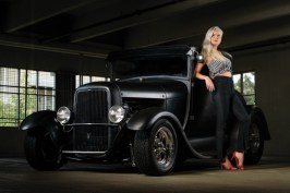 Hayley Nicole Wright and a 1929 Ford photographed in a parking garage in Annapolis, MD. Car is owned by Ernie Wood.