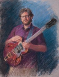 Andrée Tullier - Ahren Buccheister, pastel, 16x12. Muscians of Annapolis project.
