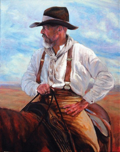 Bill Mapes - The Wrangler, oil, 20x16