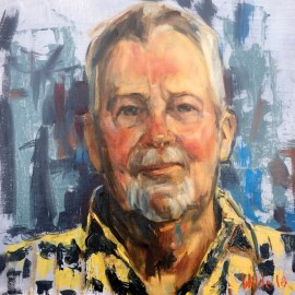 "Pamela Wilde - Peter, 12x12, oil. This painting is one of many that she has painted since January. All are created in a live 3-hour Alla Prima session as part of her ""Portraits from Havre De Grace"" community art project. Members of the community and beyond have been invited to participate. To date Pamela has completed 35 paintings and hopes to complete up to 100 before the exhibit opens. Her portraits will be on display at Artists Emporium Gallery 220 N Washington Street HDG, MD 21078 in the Spring of 2019."