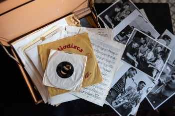 10/5/18: Memorabilia from Lee's time with his band, The Lafayettes. Photo by Alison Harbaugh