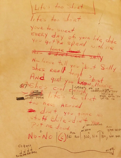 """Life's Too Short ""lyrics as written down by Phil Huth of the Lafayettes. Courtesy Photo"
