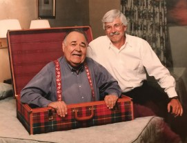 Lee on set with Jonathan Winters during a Quality Inn commercial shoot. Courtesy Photo