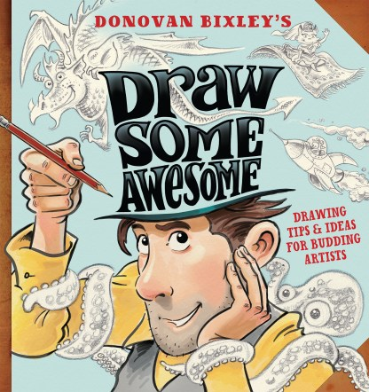 Book cover art: Bixley draws on his own hat.