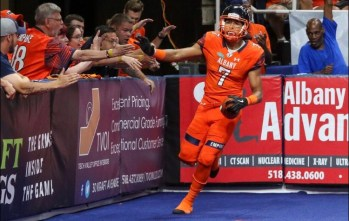 Wide receiver Malachi Jones celebrating a touchdown against the Washington Valor. Photo: Robert Dungan/ The Upstate Courier