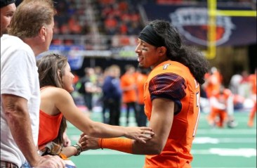 Malachi Jones being consoled by fans after the tough loss to the Valor. Photo: Robert Dungan/ The Upstate Courier