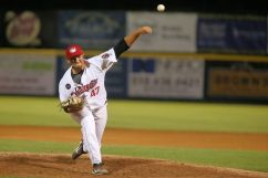 ValleyCats reliever Tim Hardy delivers a pitch on Thursday. Photo: Robert Dungan/The Upstate Courier